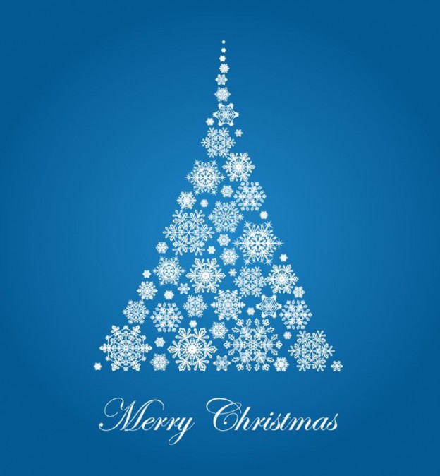 Christmas-Tree-with-Snowflakes-Vector-Illustration